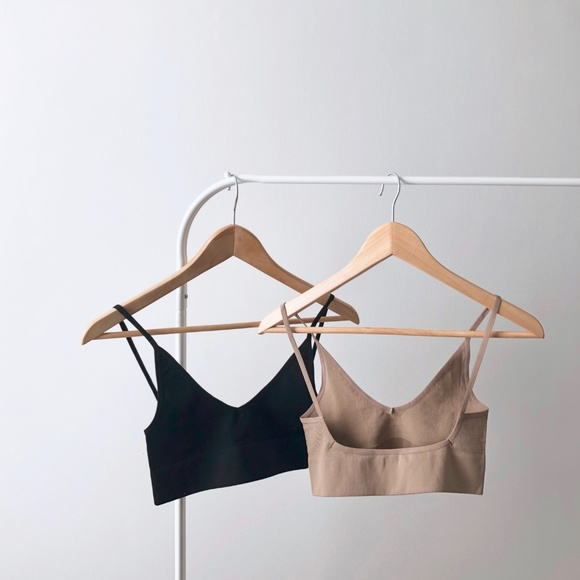 llellie Other - Low Back Bralette Duo Set in black nude
